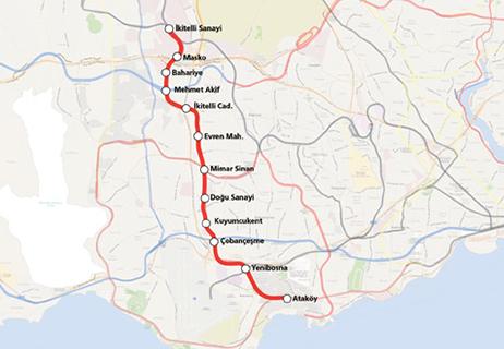 Atakoy Ikitelli Metro Line Map