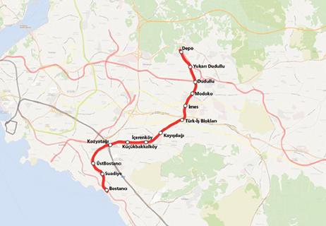 Bostanci Dudullu Metro Line map