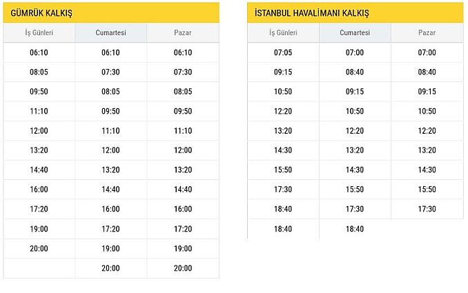 H  Halkalı New Airport Departure Hours