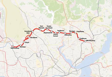 Mecidiyekoy Mahmutbey Metro Line map