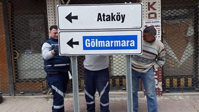 Manisa in Ahmetli province of Yon and signs signs renewed