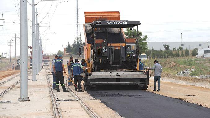 sultandere tram line asphalt work started