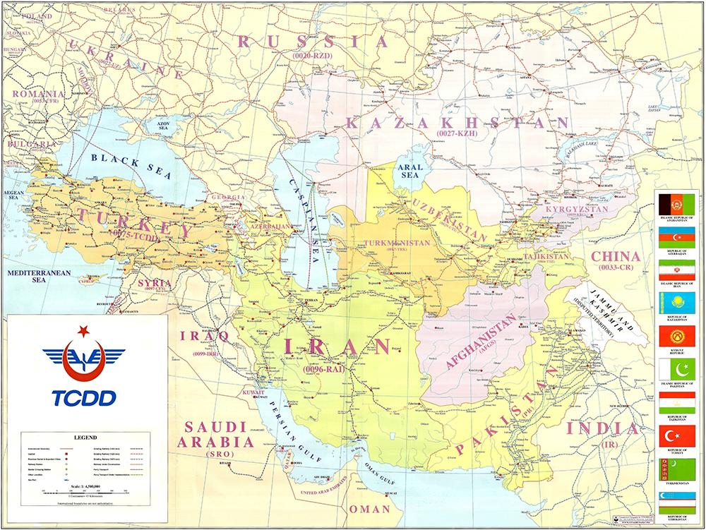 Asia and Turkey Railway Map