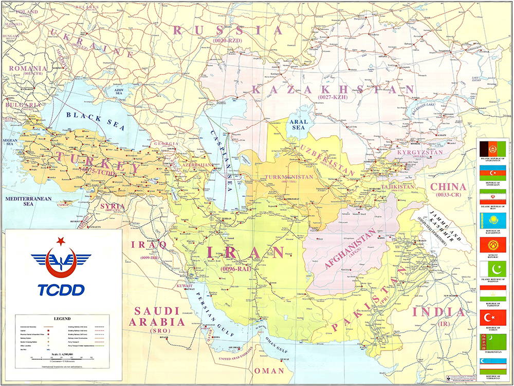 Asia and Turkey Railway Map
