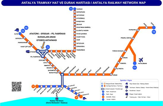 Antalya rail system map