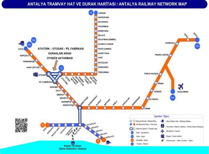 Straßenbahnkarte von Antalya