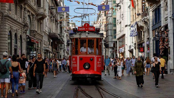 nostalgic tram traveling in history in istanbul
