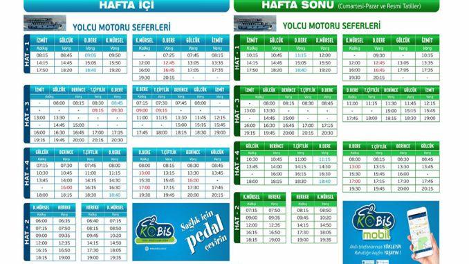 Kocaelide sea transportation timetable