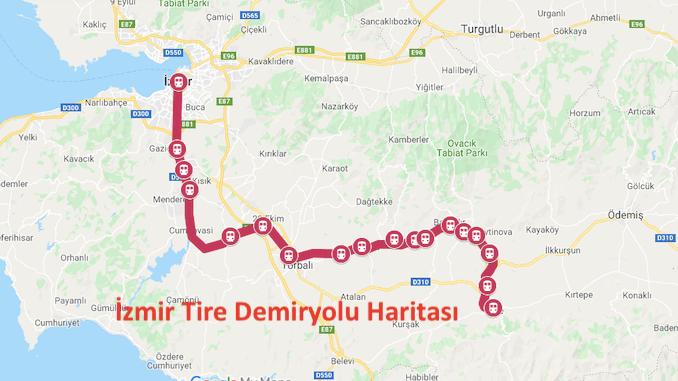 Izmir Tire Train Map