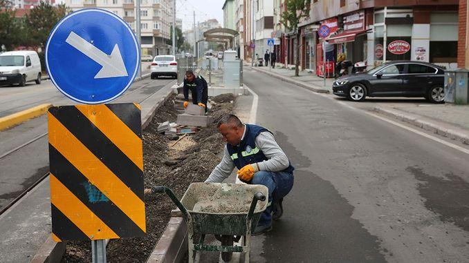 Raitiovaunuradat Eskişehirissä Valmiit työt kadulla ja Boulevardilla