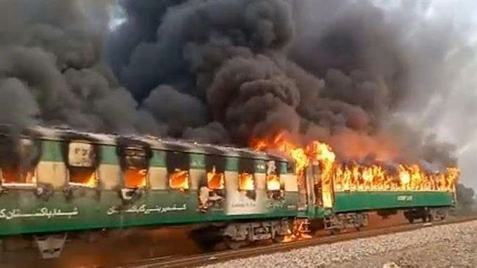 fire broke out on a passenger train in Pakistan