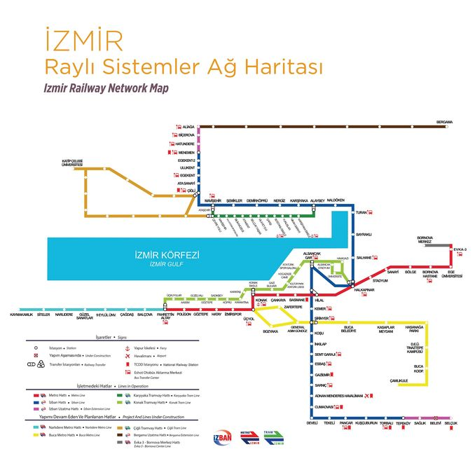 zmir Rail Sistem Network Map
