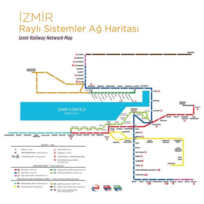 zmir Rail Sistemləri Şəbəkə Xəritəsi