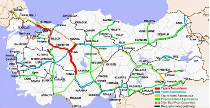 Laini Railway High Speed ​​Ankara Konya
