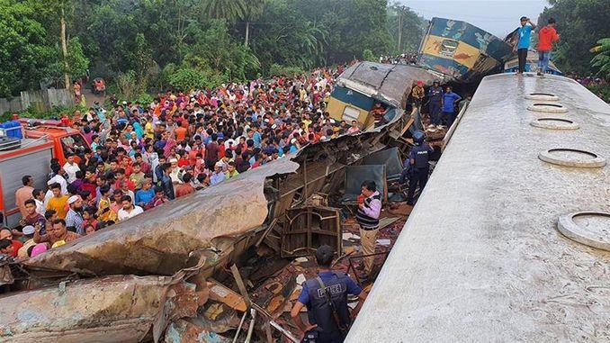 Essere i feriti sono stati due collisione ferroviaria in Bangladesh