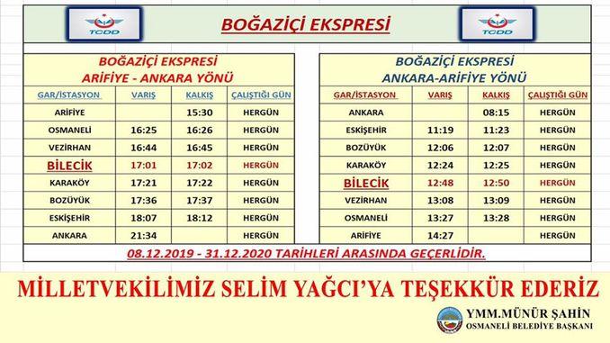 לוח הזמנים של רכבת בוספורוס