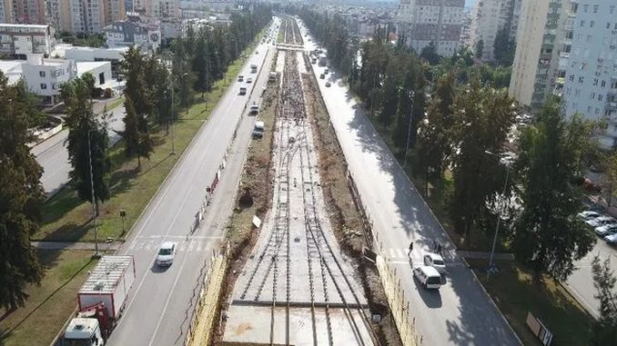 rails started to be filed on antalya stage rail system line