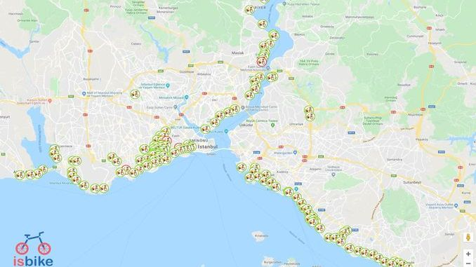Karta bicikala za mobilne aplikacije İSBİKE