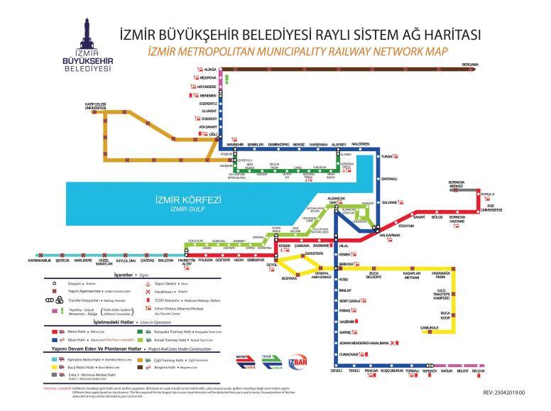 izmir मेट्रो का नक्शा उच्च कोनुरलुक