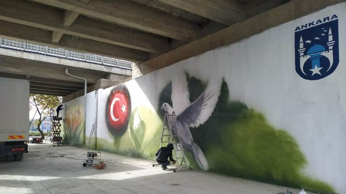 artistic touch on empty wall surfaces with underpasses and bridges in the capital
