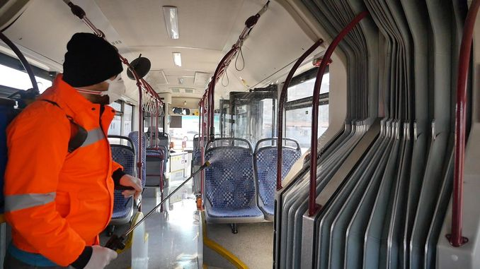 Public Transport Vehicles are Disinfected in Trabzon