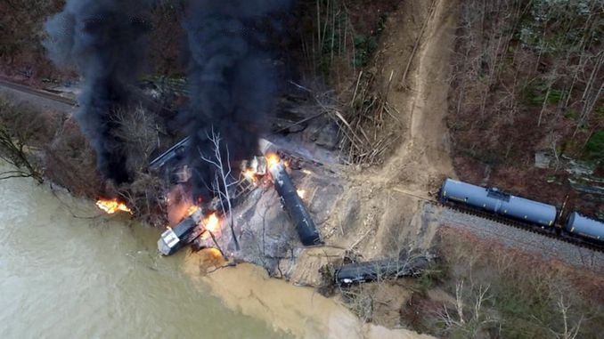Freight Train Derailed in the USA Rolled into the River and Flamed