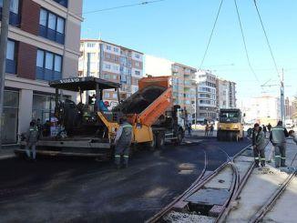Die Arbeiten in den Straßenbahnlinien von Eskisehir werden fortgesetzt