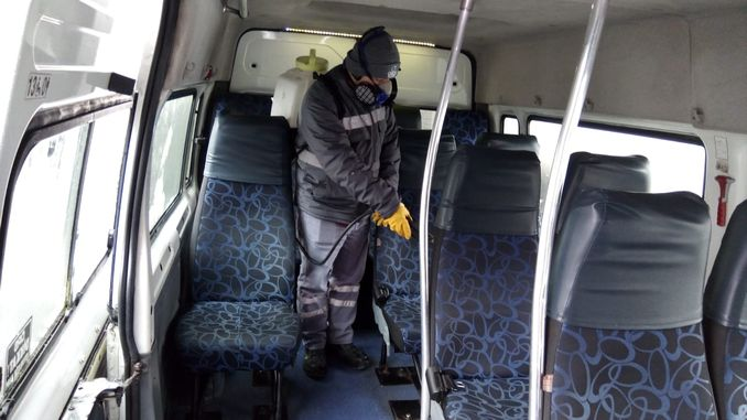 army disinfects mass transit vehicles