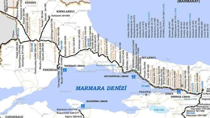 Map of TCDD Marmaray