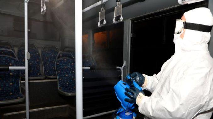 afyonkarahisarda datop nəqliyyat vasitələrində koronavirusun qarşısının alınması