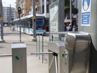 Hand disinfectant devices were installed at the Akcaray tram stations