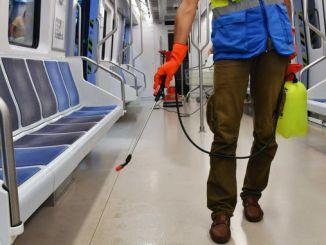 movilización higiénica de parques a vehículos de transporte público en la capital