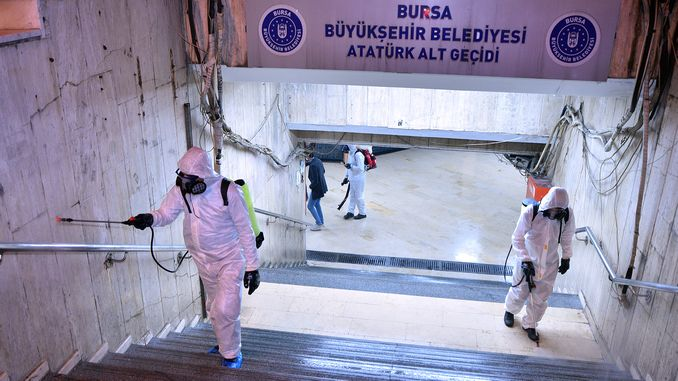 In Bursa, public transport vehicles, underpasses and buses are disinfected.