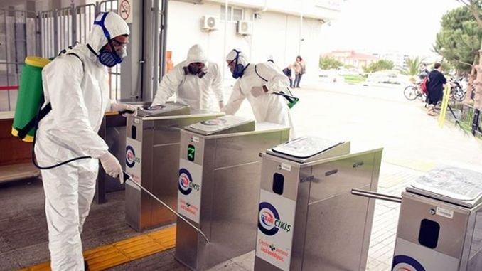 Disinfection work at izban aliaga station