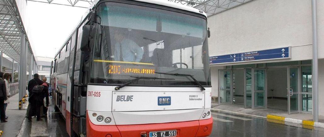 Luchthavenbusdiensten in Izmir werden doorgestuurd naar de stad.