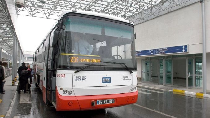 Airport bus services in Izmir were redirected to the city.