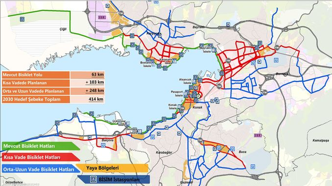 cycling route map of izmir