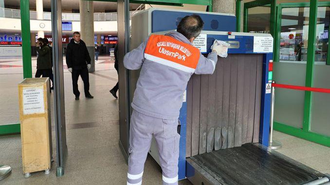 Coronal virus cleansing at Kocaeli intercity bus terminal