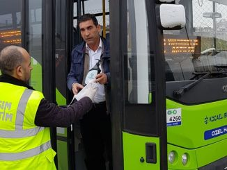 Disposable disinfectant sofores to the buses in Kocaeli