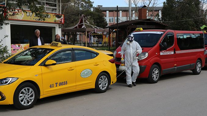 Commercial and filled taxis are disinfected in Kocaeli
