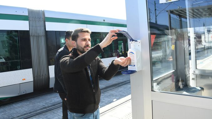 Disinfectant Devices were Installed at Bus Station and Tram Stations in Konya