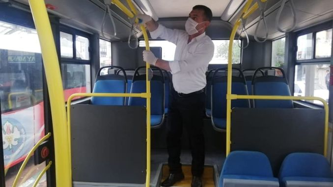 disinfection work on vehicles providing mass transportation services in manisa