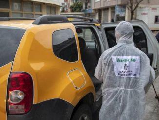 väikebussid ja taksod desinfitseeritakse Mersini linnas ja linnaosade vahel.