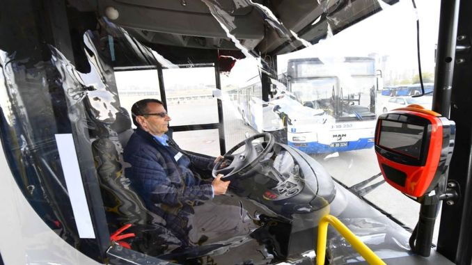 Transparent protection against coronavirus for EGO bus drivers in Ankara