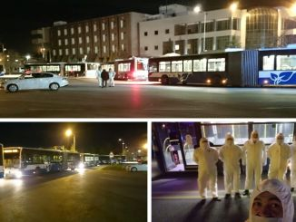 citizens coming from katar moved to quarantine zone with ego buses