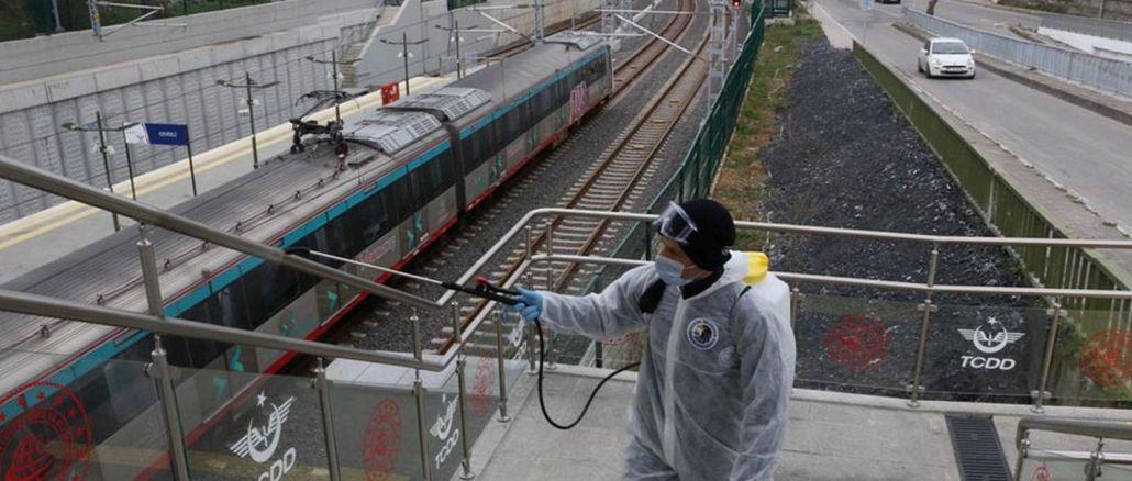marmaray istasyonlari dezenfekte edildi