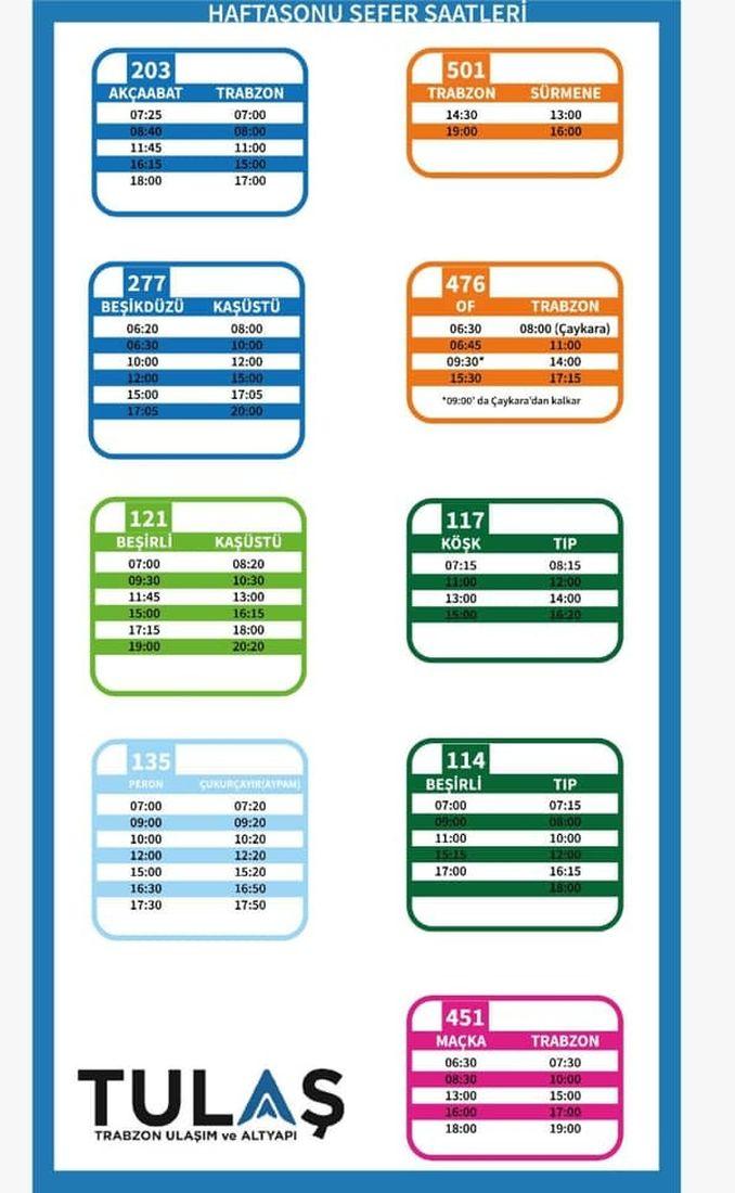 weekend bus times at trabzon