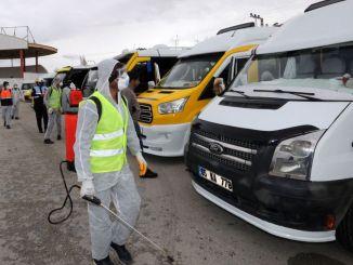 vanda mikroavtobus və ticarət taksiləri dezinfeksiya edildi