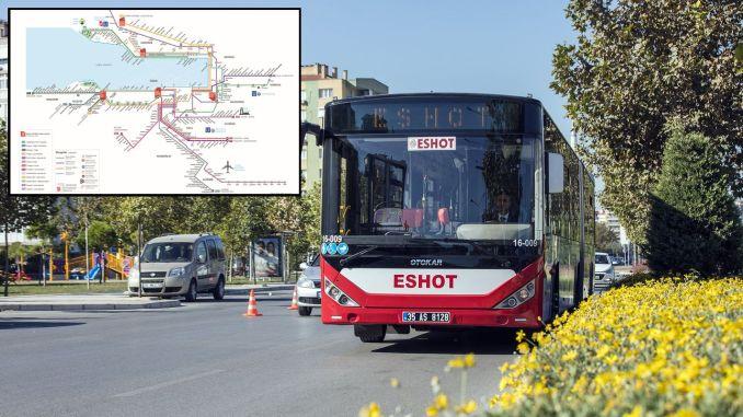 eshot stops map and eshot night bus lines map