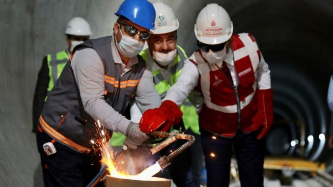 atakoy ikitelli metro line rail welding ceremony was held in istanbul